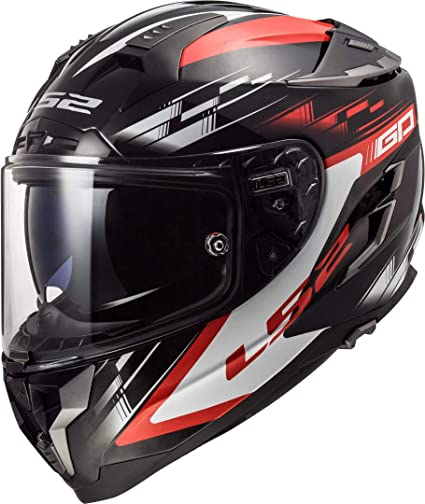 LS2 Casco Moto FF327 Challenger GP negro rojo, negro/rojo, M