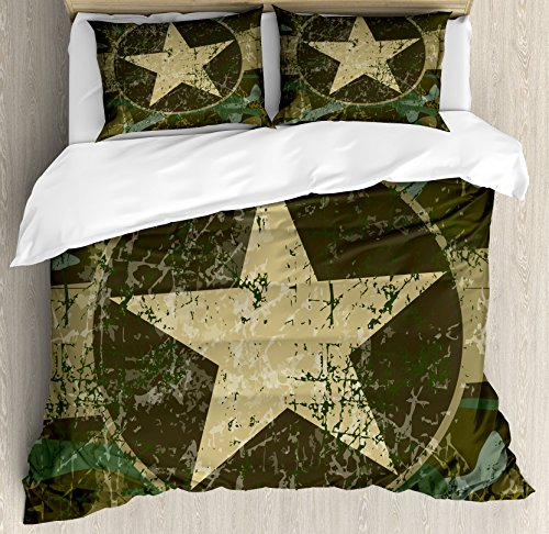 - Ambesonne Camo Duvet Cover Set, Grunge Dusty Dirty Design a Star in Circle Undercover War Theme, 3 Piece Bedding Set Pillow Shams, Queen/Full, Army Green Beige Dark Brown