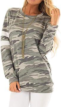 SMILEQ Camisa de Mujer Camuflaje Informal para Mujer Top Suelta Blusa de Manga Larga Blusa: Amazon.es: Deportes y aire libre