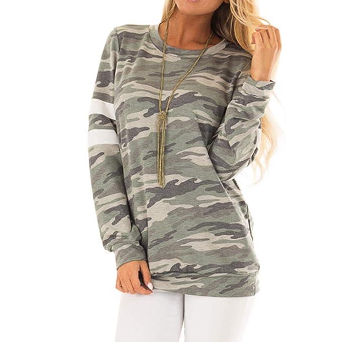 Luckycat Las Mujeres de Moda Camuflaje Top Casual Camiseta Ladies Loose Manga  Larga Top Blusa 316f1143606