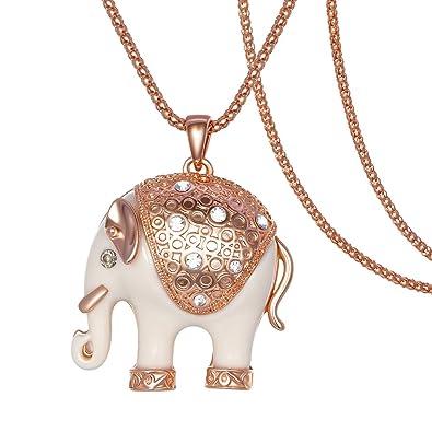 Kemstone Rose Gold Tone Crystal Accented Ivory Elephant Pendant