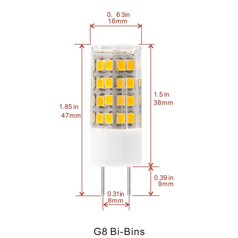 Feiji G8 Led bulb 120V, 3000K Warm White T4 G8 Bi-pin base Xenon JCD type led halogen bulb replacement 35W to 40W equivalent-5packs (Warm Whit) by feijideng (Image #2)