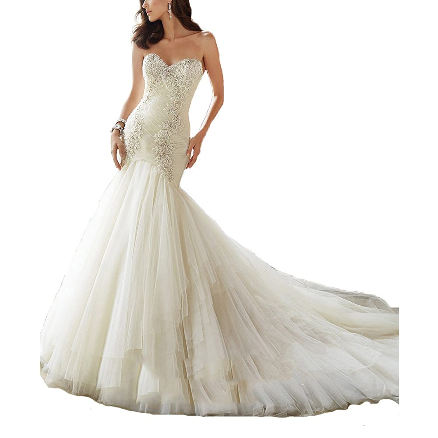 AbaoWedding Women's Lace Applique Strapless Sweetheart Chapel Train Wedding Dress