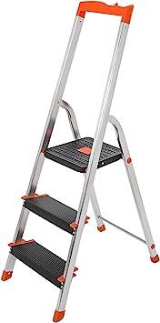 SONGMICS Escalera de 3 Peldaños, Escalera de Aluminio Plegable ...