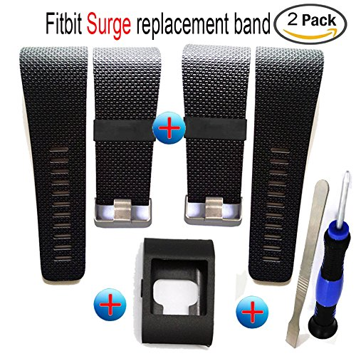 Budesi Silicone Accessory as Replacement Strap Band for Fitbit Surge Watch Fitness Tracker WatchBand Black-Large 2-Pack
