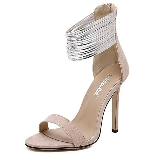 e1a757032034 Summerwhisper Women s Sexy Ankle Strap Back Zipper Stiletto High Heel Dress Shoes  Strappy Sandals Beige 4