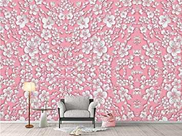 Pink Wallpaper Desktop Girls Bedroom Modern Custom 3 D Nature Home Decor Flower Wall Picture