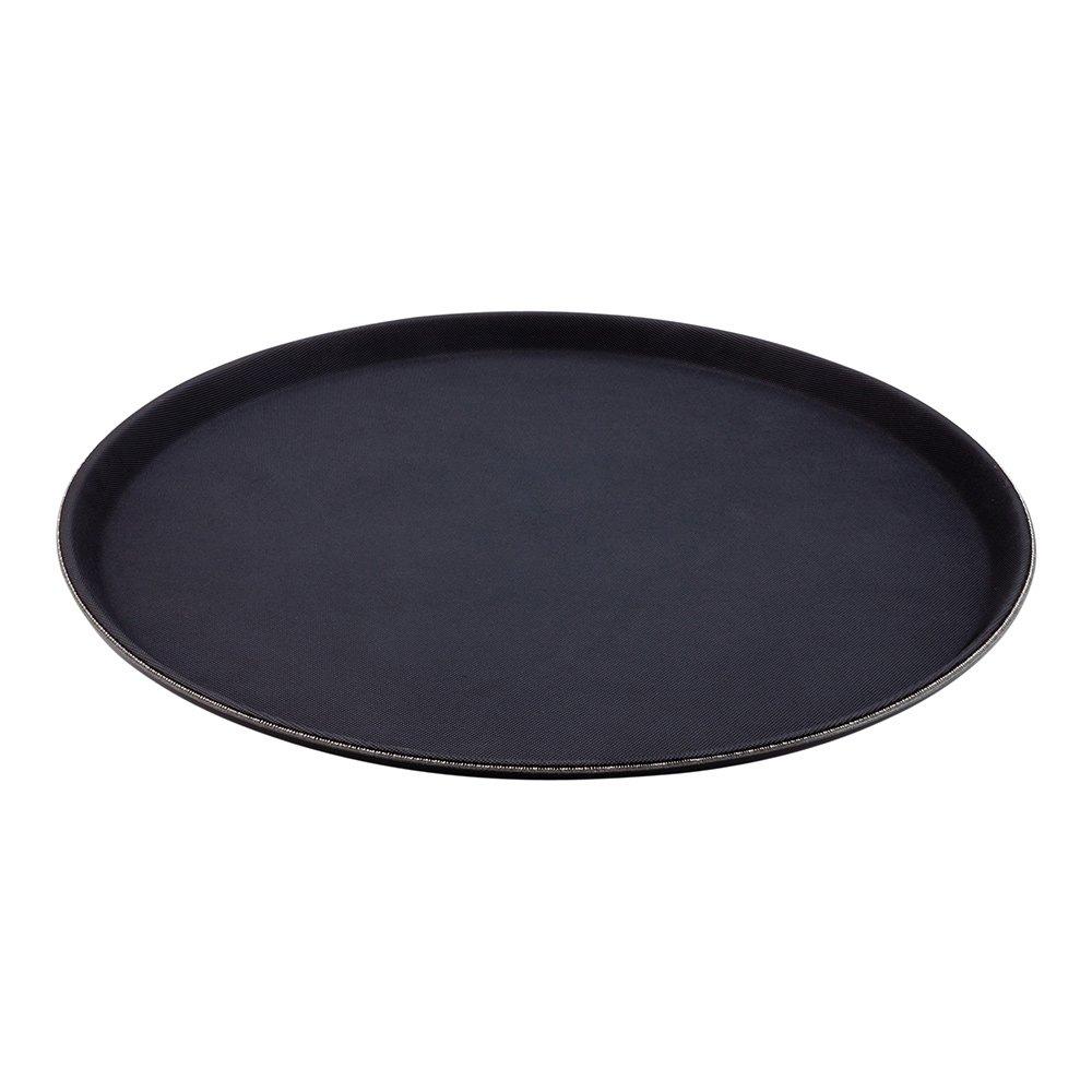 Non-Slip Serving Tray, Food Tray - Heavy Duty, Commercial Grade - 16'' Round Tray - Black - 1ct Box - Met Lux - Restaurantware