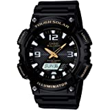 Casio Unisex-Adult Solar Powered Wrist Watch analog-digital Display and Resin Strap, AQS810W-1B