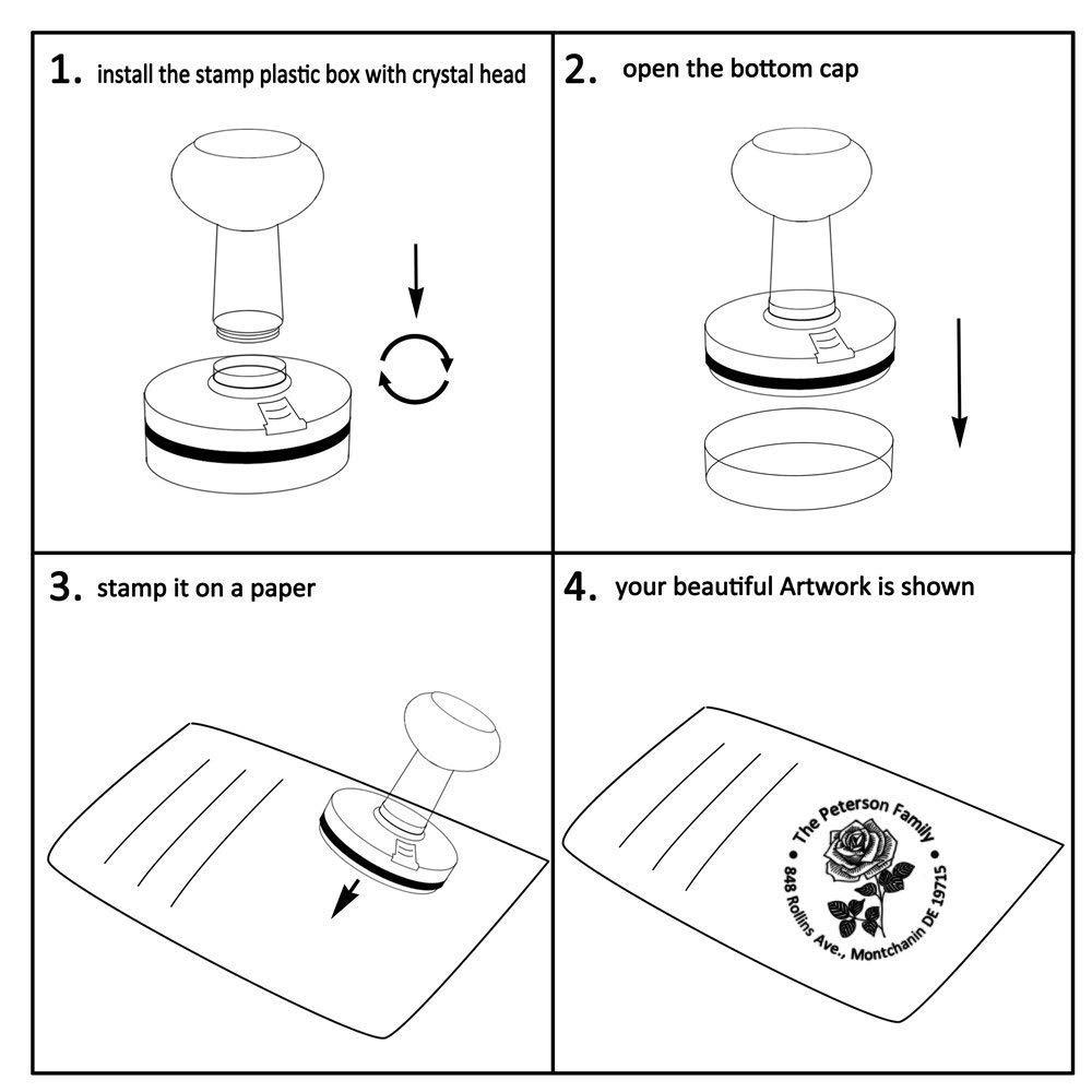 Custom Address Stamp Flower Rose Leaf Return Flash Stampers for Card Making Holiday Gift Circular Diameter 1.65inch