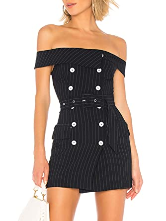 e8281ad34c85 Glamaker Women's Elegant Off Shoulder Double Brested Striped Mini Blazer  Dress with Belt at Amazon Women's Clothing store: