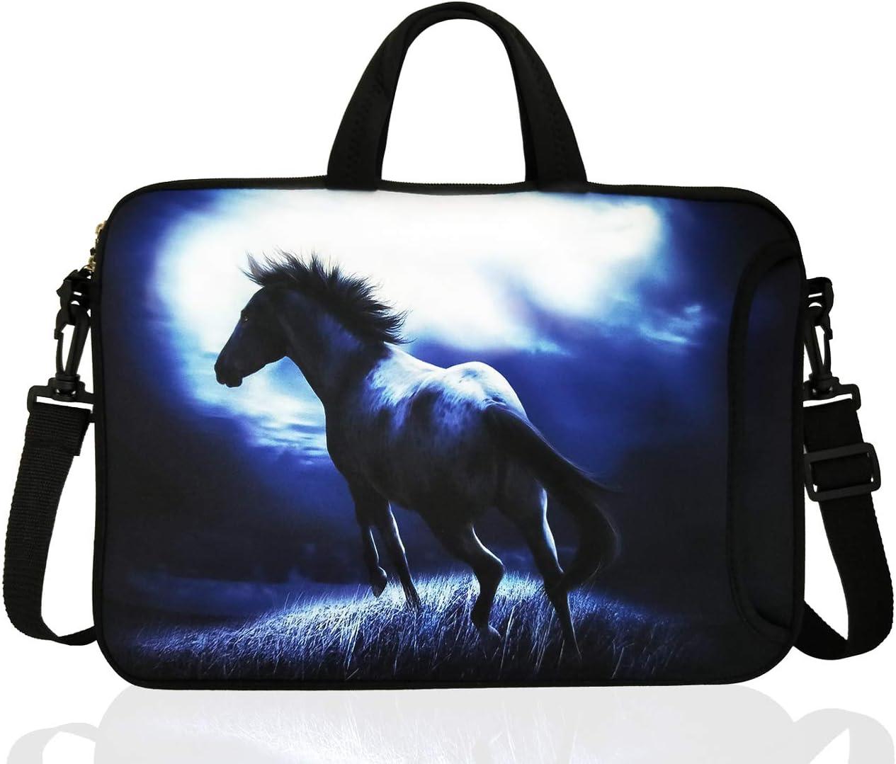"14-Inch Neoprene Laptop Shoulder Bag Case Sleeve for 13.3 14"" Inch Chromebook (Blue Horse)"