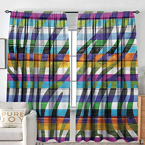 NUOMANAN Blackout Curtains 2 Panels Zebra Print,Colored Zebra Print Wood Planks Rustic Country Artistic Design Illustration,Green Fuchsia,Rod Pocket Curtain Panels for Bedroom & Kitchen 100