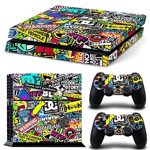 FriendlyTomato PS4 Console and DualShock 4 Controller Skin Set - Collage Brand Design - PlayStation 4 Vinyl
