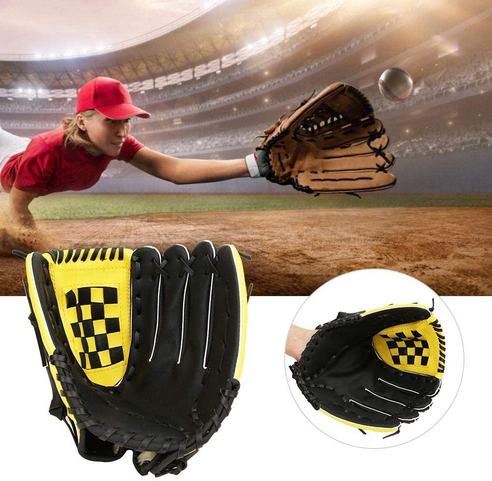 Gant de Baseball Mitaines Souples en Cuir PU Gants de Balle-Molle /éPaississants pour Les Adolescents Adultes