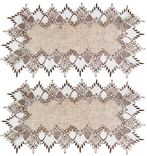 Linens, Art and Things Two Lace Place Mats 12W x 21L Neutral Earth Tones Place Mats Dresser Scarf Coffee Table Runners End Table Doilies Set of 2