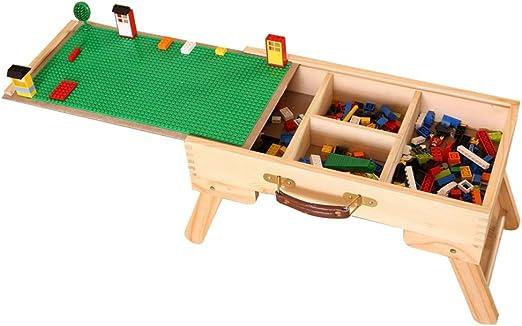 DAPU Mesa de Actividades de Madera Compatible con Lego, Mesa de ...