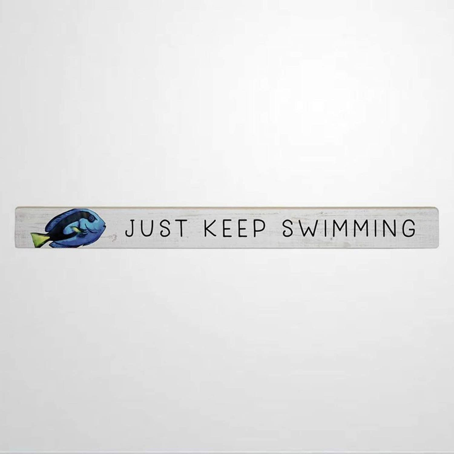 43LenaJon Just Keep Swimming Shelf Sitter Cute Funny Wood Wall Decor Sign,Custom Wood Sign,Wooden Plaque Art for Easter, Father's Day,Mother's Day,Home,Gardens.