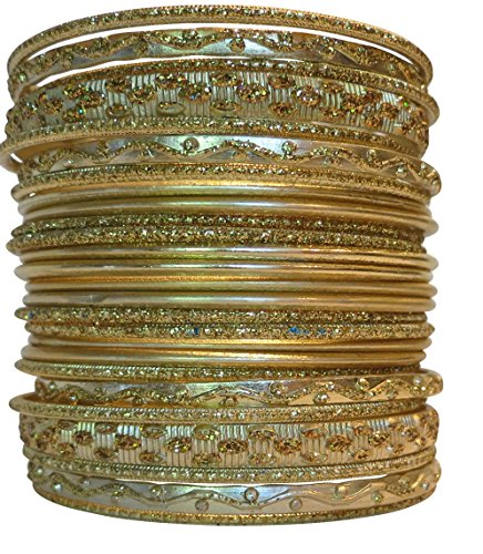 [Set of Light Gold Tone Bangle Bracelets for Women] (Bollywood Costume Party)