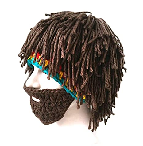 Dosige Peluca Barba Falsa Coleta Gorro de lana Divertido Sombrero hecho punto Marrón oscuro