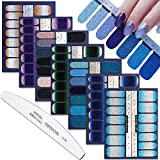 WOKOTO 7 Sheets Adhesive Nail Art Polish Stickers Tips Glitter Gradient Design Nail Wraps Decals Strips Set Manicure Decoration With 1Pc Nail File