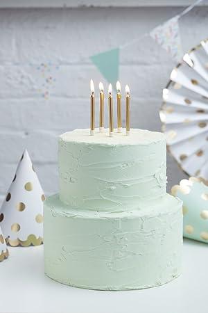 Ginger Ray Gold Metallic Birthday Cake Designer Candles 24 Pack