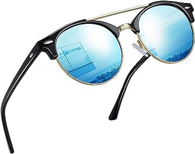 Joopin Gafas de sol Mujer Doble Puente - Retro Redondo Hombre ...