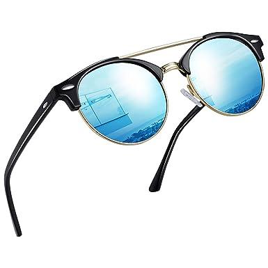 Joopin Gafas de sol Mujer Doble Puente - Retro Redondo Mujer Gafas de sol Polarizadas E8916