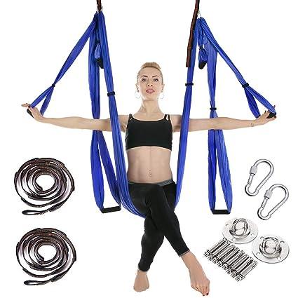 MANLI Hamaca de Yoga Tafetán de Nailon Antigravedad Swing Sling Inversión para Pilates Gimnasia con 664lb Carga