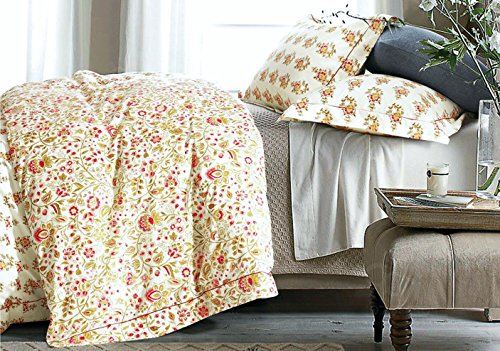 Cottage Country Style 3 Piece Duvet Cover Set Multicolored Roses Peonies Bouquet 100-percent Cotton Shabby Chic Reversible Floral Bedding (King, Greenery Fuchsia)