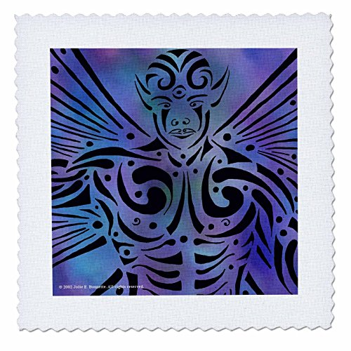 3dRose qs_23174_1 Oberon Fairy Male Tribal Fantasy Abstract Quilt Square, 10 by 10-Inch