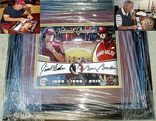 Bobby Bowden and Jimbo Fisher Autographed Signed Florida State Seminoles 16 x 20 Photo - Custom Framed - Certifed Signature