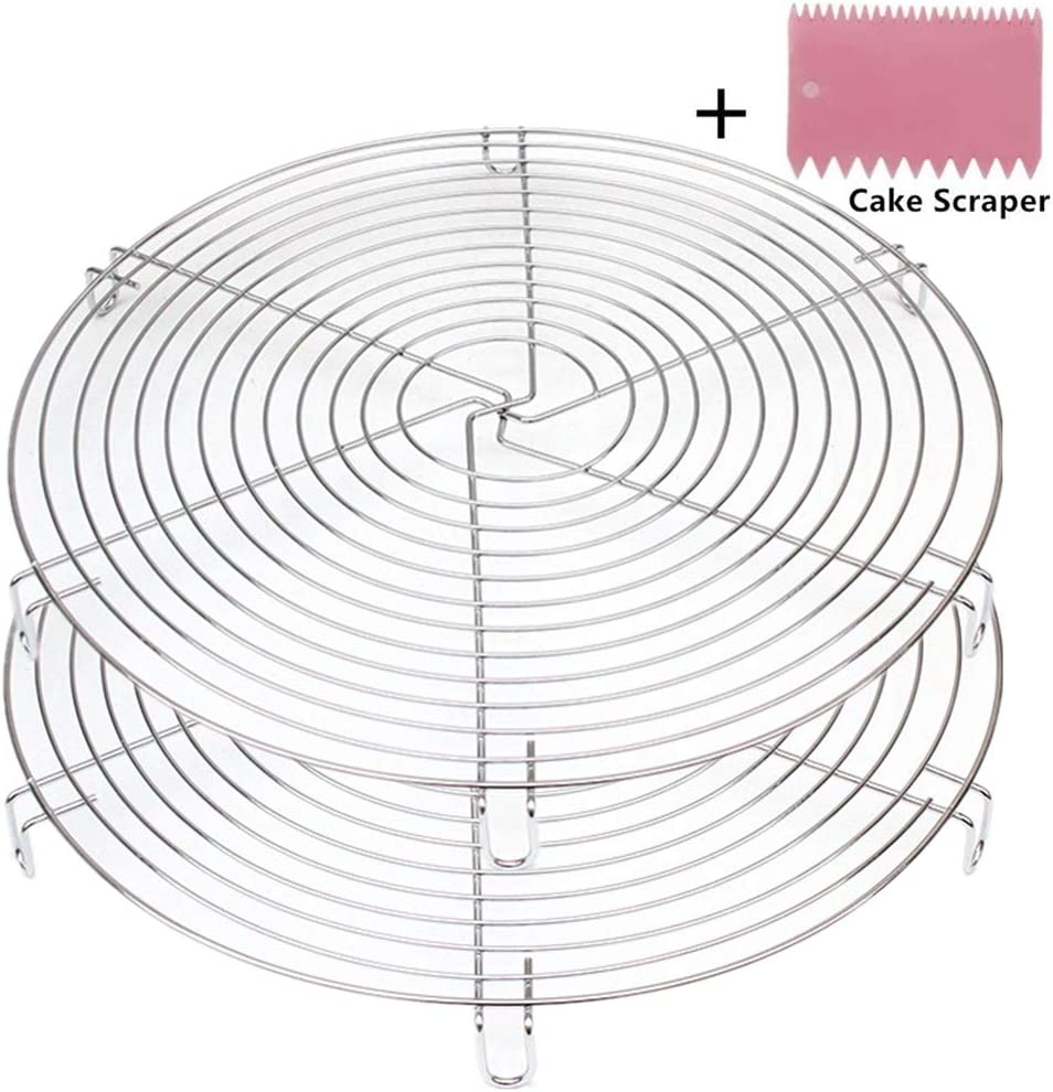 Mokpi Round Cake Cooling Racks Wire Baking Steaming Rack, 12 Inch Diameter, Steamer Rack (Silver-2 Pack)