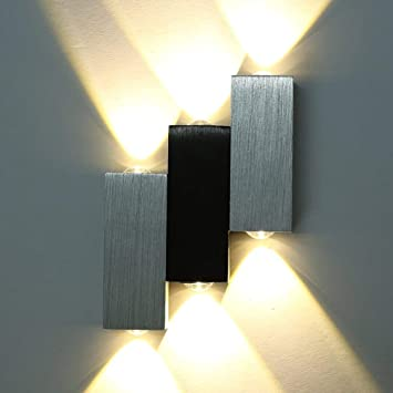 Wall Lights Interior Modern Aluminium Up And Down Wall Light 6 Led Wall Lamp Indoor Sconce Uplighters Downlighters Silver Black Warmwhite Wall Lamps Sconces Amazon Canada
