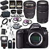 Canon EOS 5DS-R 5DSR DSLR Camera + EF 24-105mm f/4L IS USM Lens + Canon EF 75-300mm f/4-5.6 III Telephoto Zoom Lens + LPE-6 Lithium Ion Battery + Canon 100ES EOS shoulder bag Bundle 5