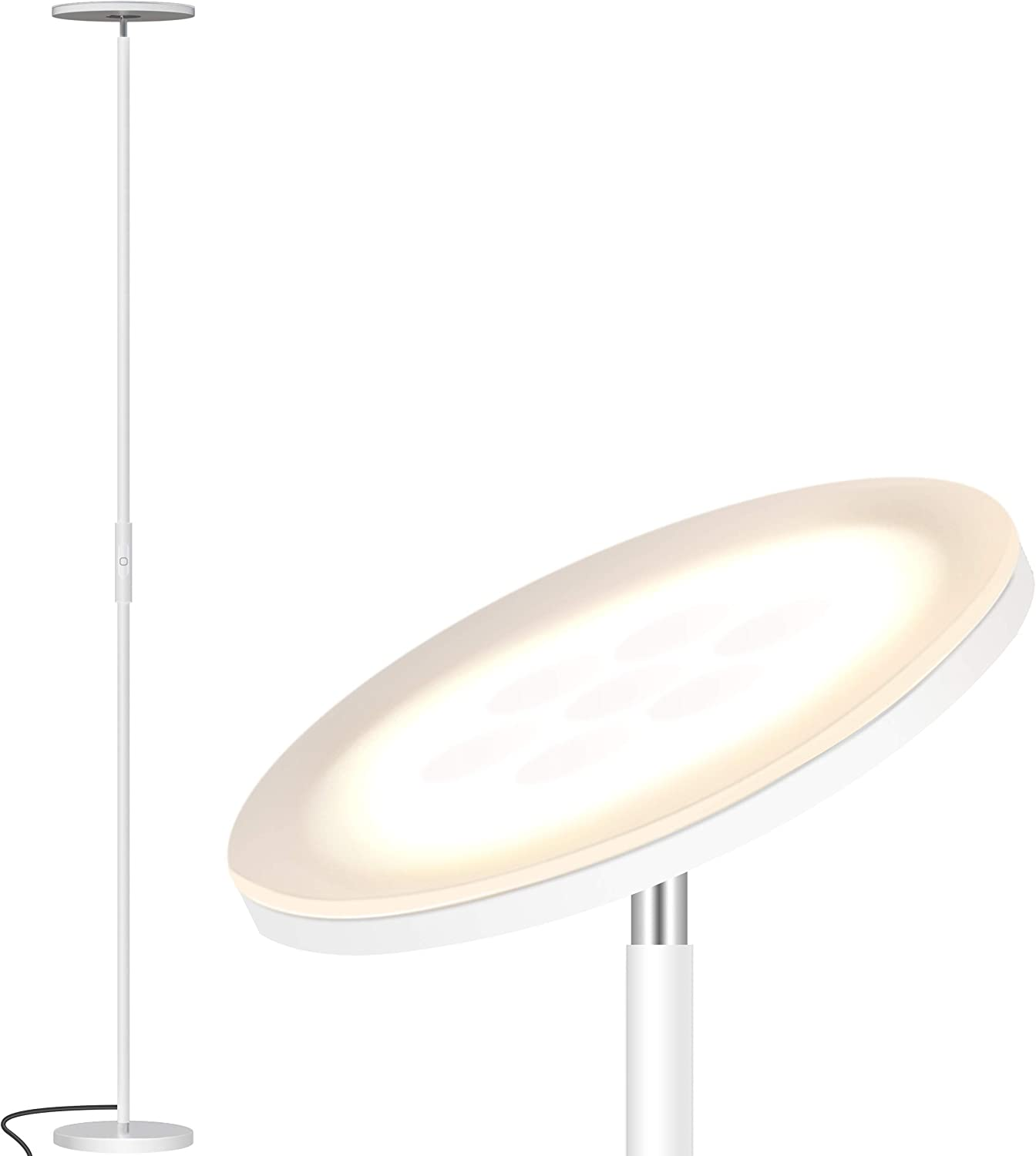 Addlon LED Torchiere Floor Lamp - Tall Standing Modern Lamp Pole Light for Living & Office – Stepless Dimmable Uplight with Wall Switch - White