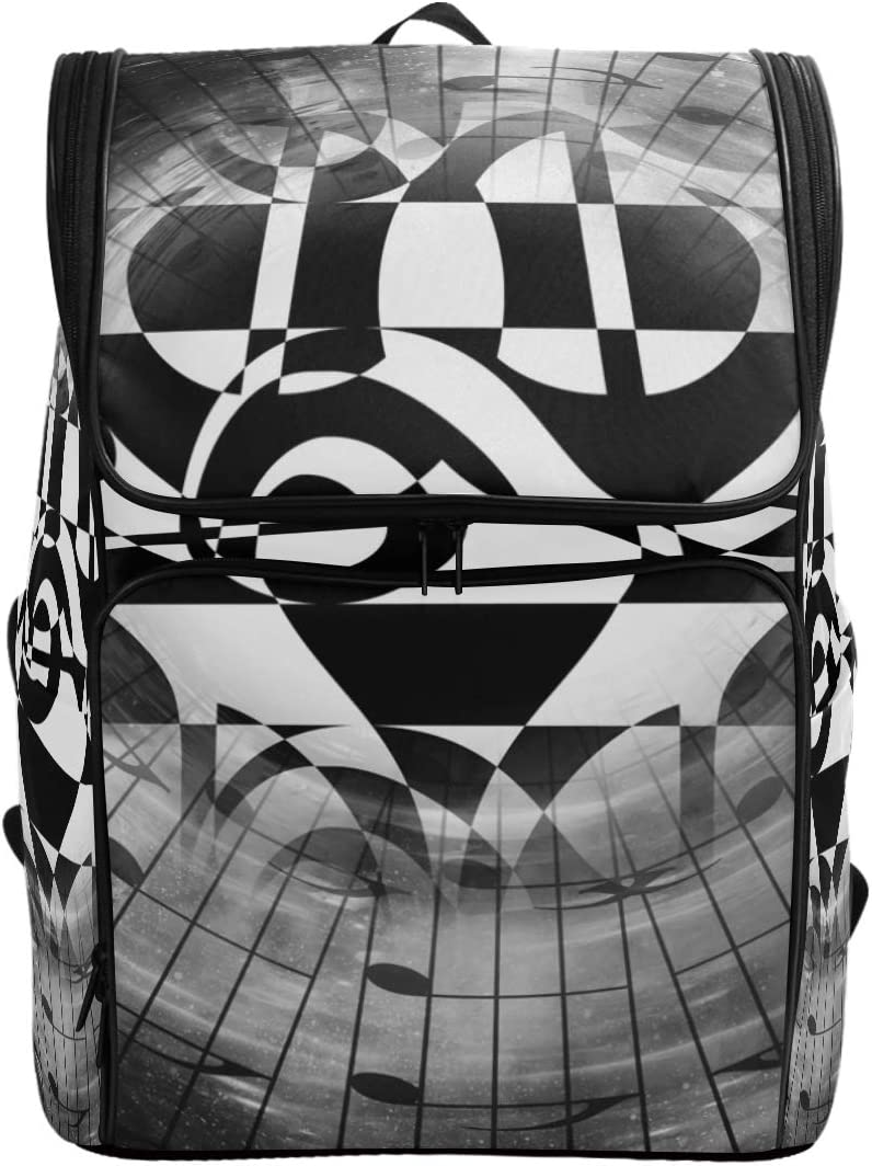 Naanle Stylish Black White Musical Whirl Pattern Casual Daypack,College Student Bookbags Large Travel Bag Padded Laptop Multipurpose Bag Fits 15.6 inch Notebook