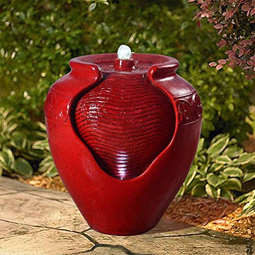 "Peaktop Outdoor/Indoor Garden Water Glazed Pot Floor Fountain With LED Light, 17"" Height, Red"
