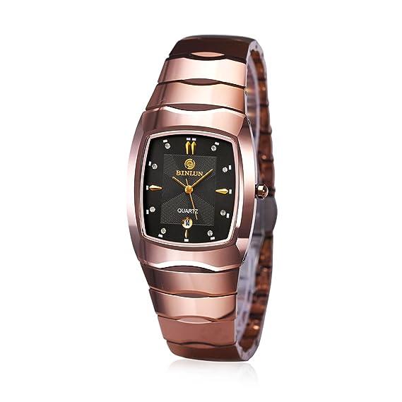 binlun His and Hers Parejas par relojes resistente al agua Rectangular tungsteno Quarzt reloj para mujeres