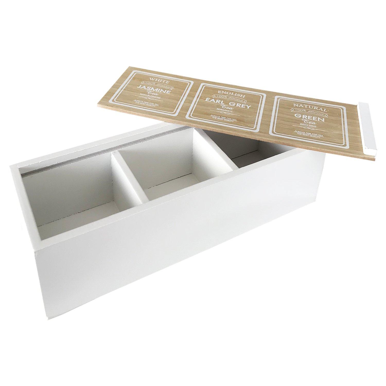 weiß für Teebeutel Holz Teebox Teekiste 9 Fächer mit Sichtfenster natur