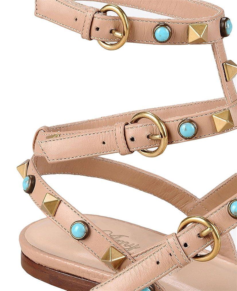 Amy Q Womens Metal Studs Flat Sandals Classic Shoes Size 4-15 US