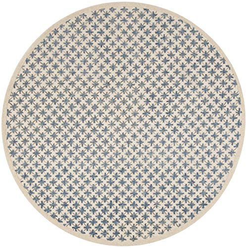 Safavieh NOV106A-5R Novelty Collection Ivory and Blue Premium Wool Round Area Rug, 5' Diameter,