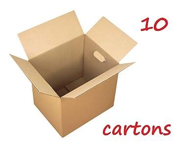 Lote de 10/25 cajas de cartón para mudanzas, muy resistentes (hasta 20 kg), color marrón, 40 x 30 x 27 cm 10: Amazon.es: Oficina y papelería