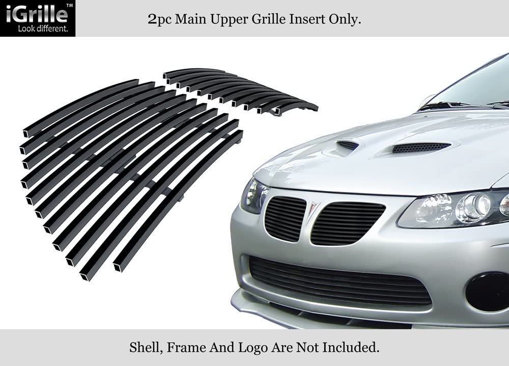APS Compatible with 2004-2006 Pontiac GTO Black Main Upper Billet Grille Grill Insert P85806H