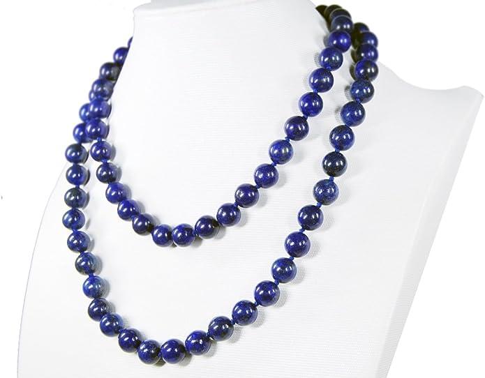 "Pretty 14x14mm/&6-10mm naturel bleu Lapis Lazuli Pierres Précieuses Perles Collier 18/"" AAA"