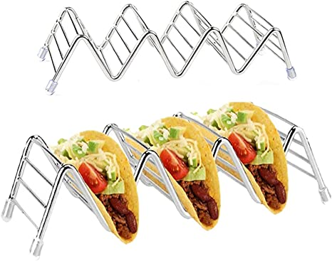 Stainless Steel Taco Rack Stand Taco Holder Hold 3 or 4 Hard or Soft Shell Tacos