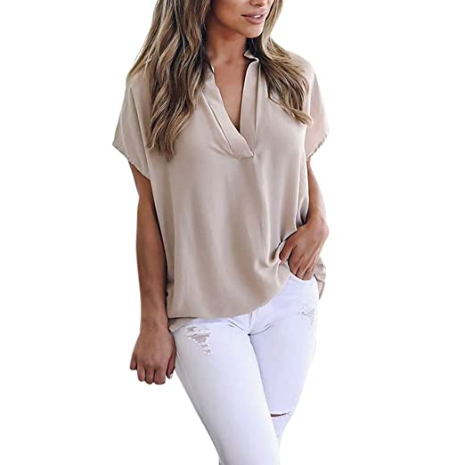 575f935949a0 Women's Shirts Chiffon V-Neck Casual Simple Plain Low High Hem Tunic Blouse  Tops for