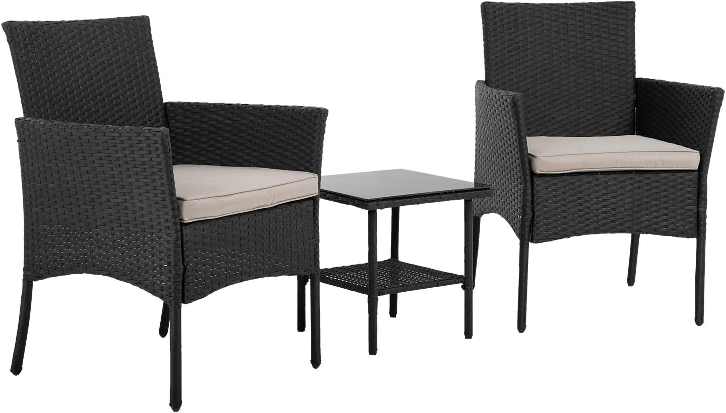 FDW Patio Furniture Sets 3 Pieces Outdoor Wicker Bistro Set Rattan Chair Conversation Sets with Coffee Table for Yard Backyard Lawn Porch Poolside Balcony,Black