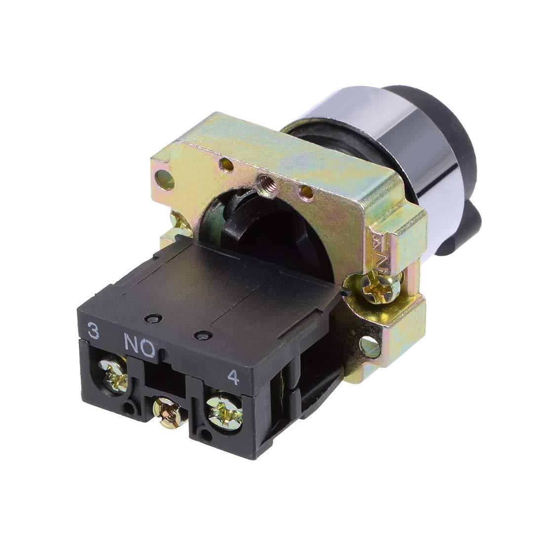 uxcell/® 22mm 2 Position Key Locking Push Button Switch W Keys Black NO