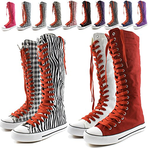 DailyShoes Womens Canvas Mid Calf Tall Boots Casual Sneaker Punk Flat, Blue Wht Plaid Boots, Rose Red Lace